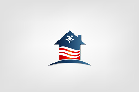 House with American flag icon