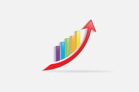 Business growing financial graph vector image Vectores