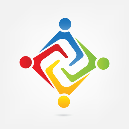 Teamwork people holding hands icon id card business logo