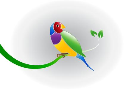 Mooie vogel op een tak in boom vector afbeelding