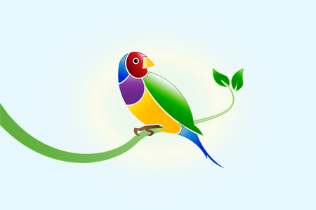 Finch beautiful colorful bird on a branch leaf. Gouldian Finch Erythrura gouldiae icon  vector image