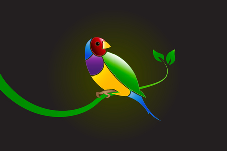 Finch beautiful bird in vivid colors on a branch in tree vector image