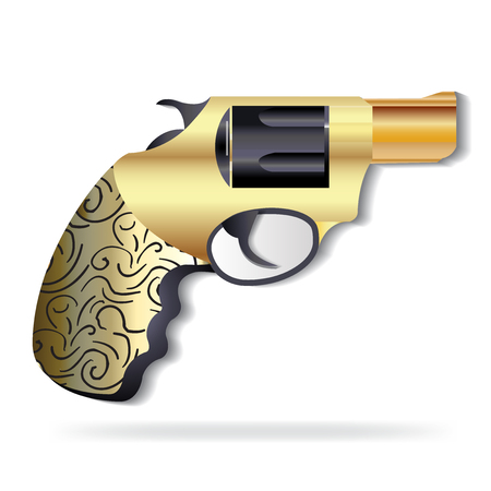 Gold vintage gun icon logo vector