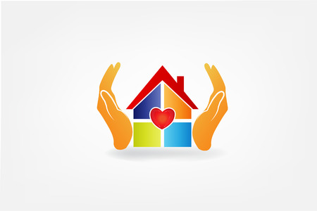 Hands protect a house with a heart love icon identity id cards vector image.