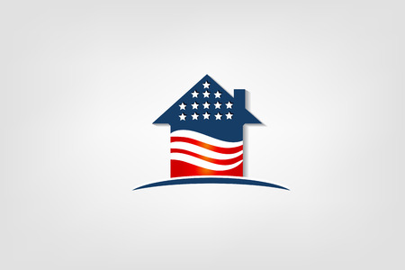 House with USA flag icon vector illustration