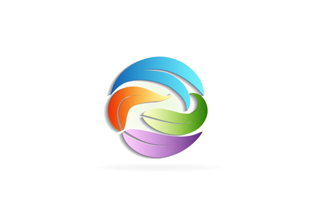 Leaves colorful in a circle shape icon vector design.