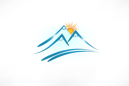 Mountains logo vector emblem portrait image Illustration