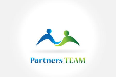 Handshake business partners teamwork people icon logo design