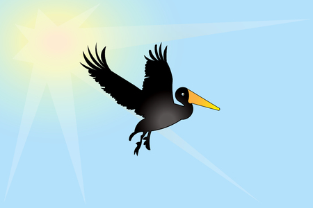 Pelican bird icon id card vector image background 일러스트