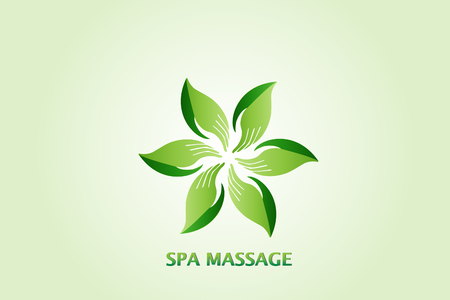 Hand leaves massage concept logo icon design Vector illustration. Ilustração