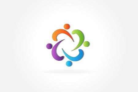 Teamwork business love people id card logo vector.
