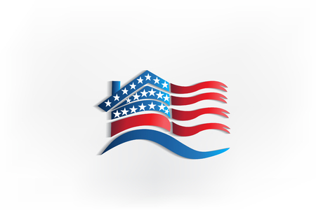 House USA flag waving identity business logo id card icon Illustration