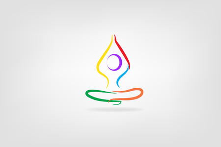 Yoga colorful logo abstract man sitting as a lotus flower pose. Spa beauty healthcare