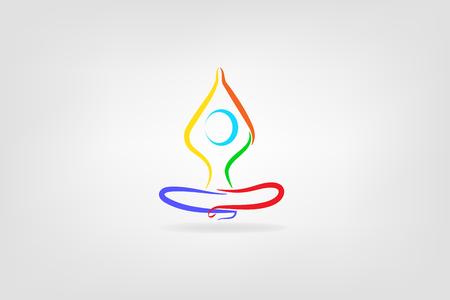 Yoga man icon vector id card