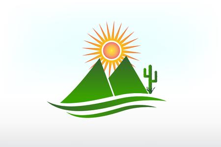 Mountains cactus and sun logo vector icon