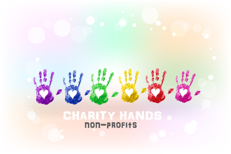 Hands print love heart waving charity concept watercolor background template