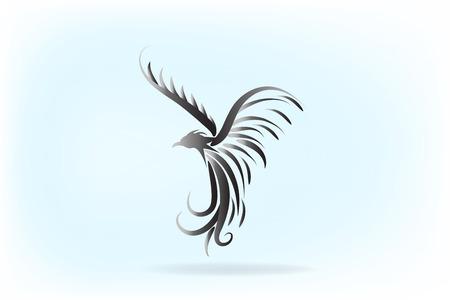 A Phoenix bird animal artwork vector isolated on plain background.