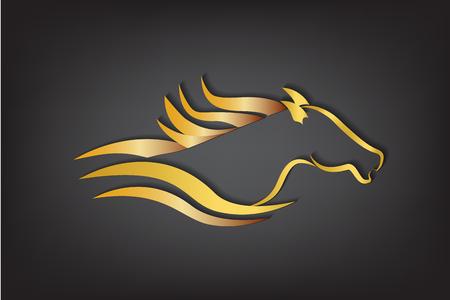 Vecteur de logo cheval or Logo