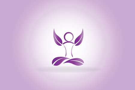 Yoga man purple leafs vector image logo template