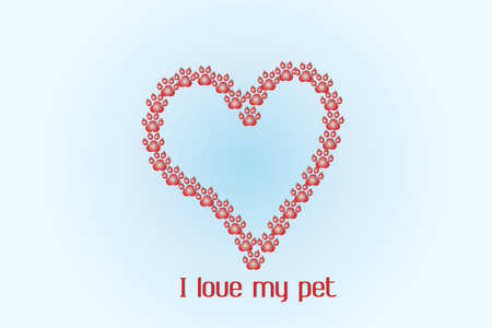 Love heart of footprint pet logo icon template Illustration