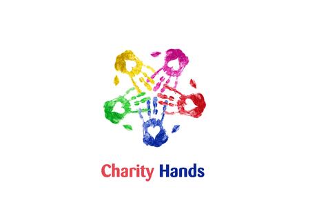 Teamwork hands print love heart colorful logo