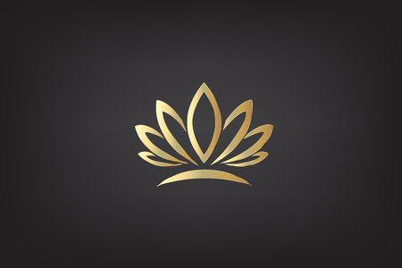 Lotus flower gold icon logo