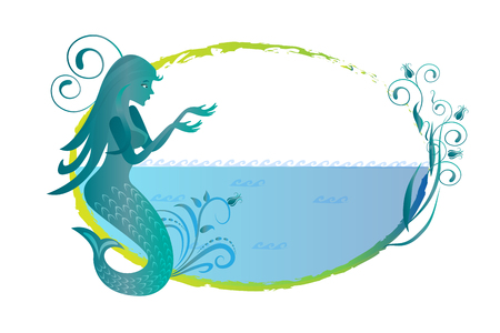 Mermaid on beach silhouette logo