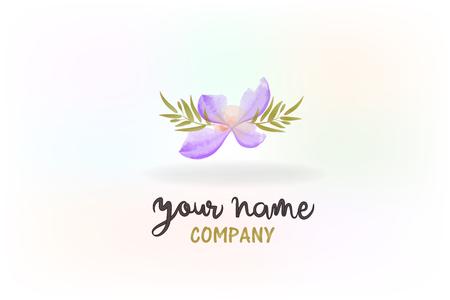 Beautiful purple flower decoration watercolor logo vector image Illustration