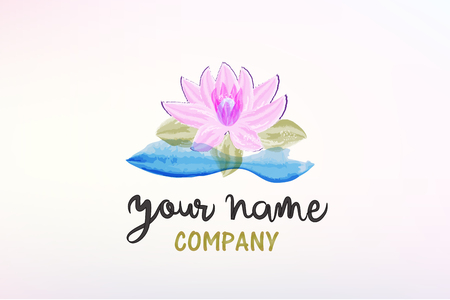 Beautiful lotus flower decoration watercolor logo vector image
