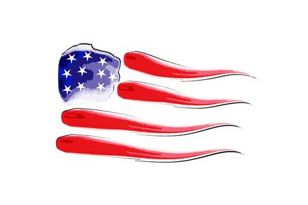 USA flag watercolor logo vector design