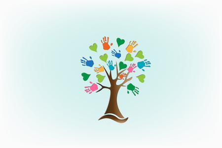 Tree hands love hearts logo vector