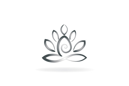 Lotus flower yoga man logo symbol image