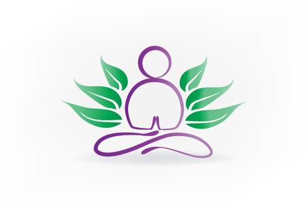 Lotus yoga man symbol id card logo vector Logos