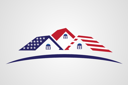 Patriotic houses with USA flag icon illustration vector image