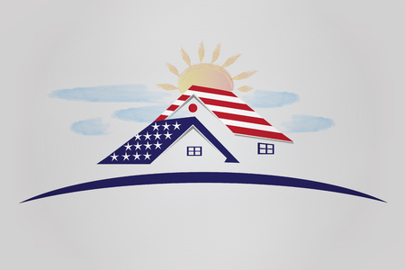 Patriotic houses with USA flag sun and clouds icon illustration vector image