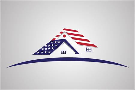 USA Flag patriotic house real estate vector image Illustration
