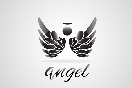 Vector sketch of angel wings icon tattoo image Stock Illustratie