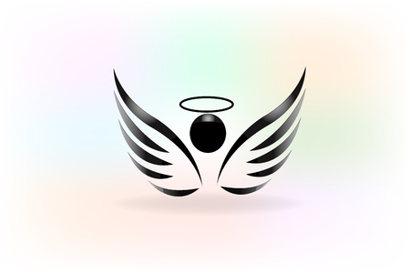 Vector sketch of angel wings icon Çizim