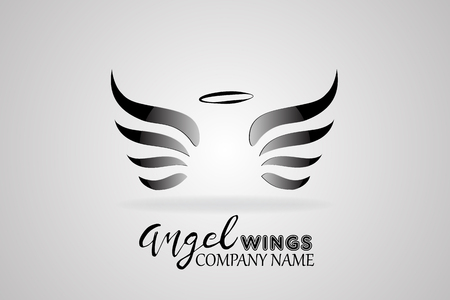 angel wings and heart icon vector image