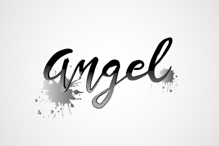 Angel word text and drops of paint symbol card design