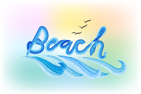 Beach word with waves watercolor painted image template