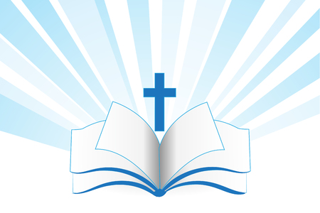 Book bible cross religion symbol vector template Illustration
