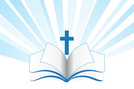 Prenota bibbia croce religione simbolo template vettoriale