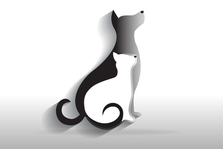 Dog and cat veterinary logo vector image  イラスト・ベクター素材