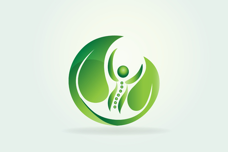 Healthy nature spine logo vector Stok Fotoğraf - 102989738