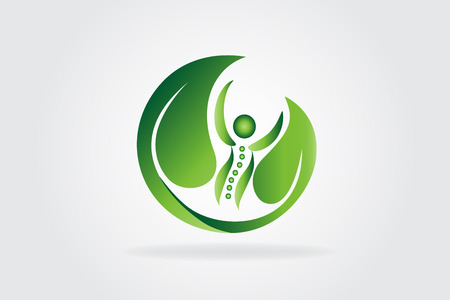 Health care nature leafs icon logo vector image