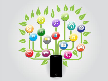 Image vectorielle graphique de réseau social de réseau social d'arbre de smartphone