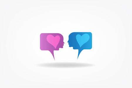 Dating chat faces of couple talking about love Illustration