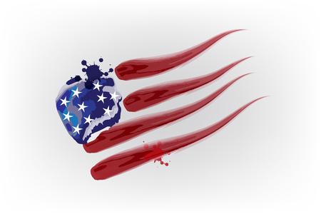 Salpicaduras de la bandera de Estados Unidos cae sobre el diseño del vector del logotipo de la acuarela