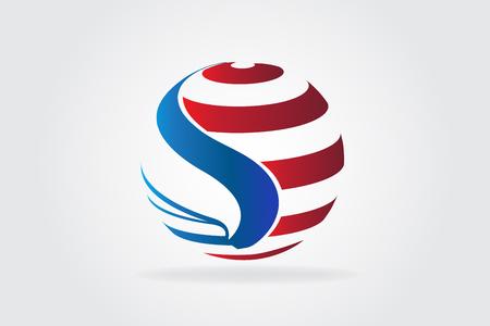 American eagle flag USA logo vector